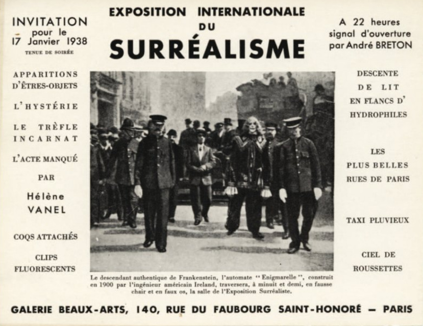 Exposition surrealisme Paris 1938 carton
