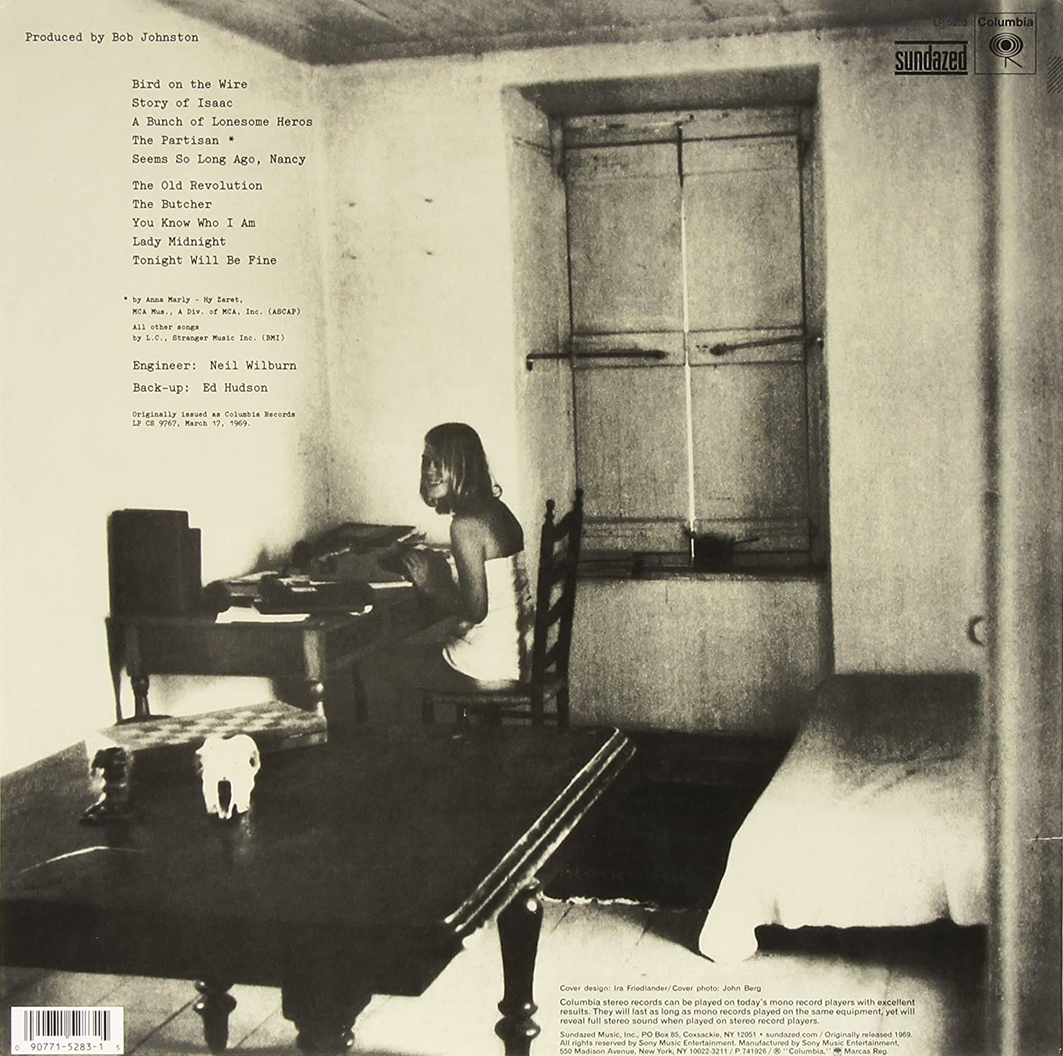 Leonard Cohen Songs from a Room 1969 front back album cover 3 download