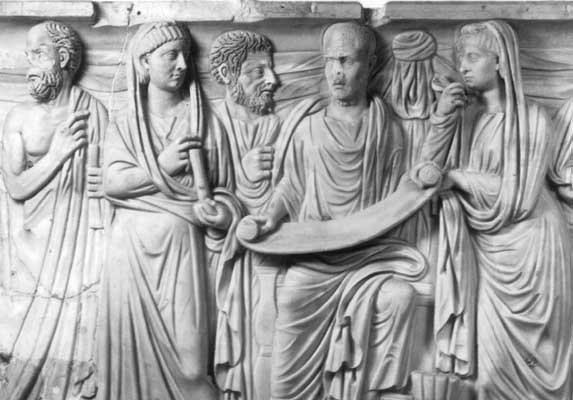 Roman sarcophagus of a reader identified to Plotinus and disciples