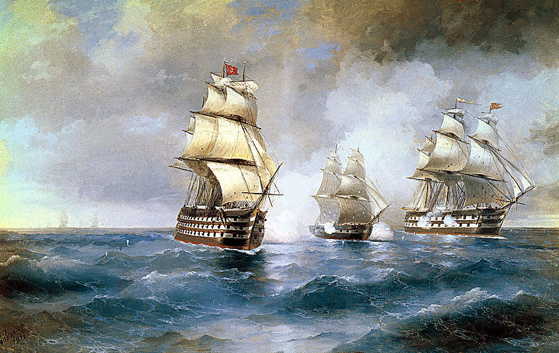 800px Aivazovsky Brig Mercury Attacked by Two Turkish Ships 1892